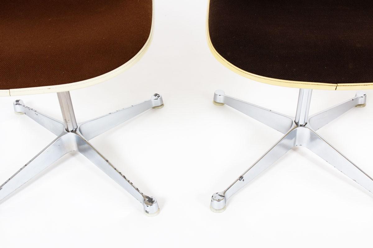 Chaises Charles et Ray Eames tissu marron édition Herman Miller 1960 set de 4