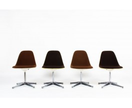 Charles and Ray Eames chairs brown fabric edition Herman Miller 1960 set of 4