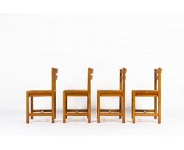 Roland Haeusler chairs in elm and straw seat edition Maison Regain 1980 set of 4