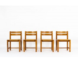 Chaises Roland Haeusler en orme et assise paille édition Maison Regain 1980 set de 4