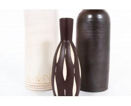 Ensemble de vases en céramique beige marron 1950 set de 3