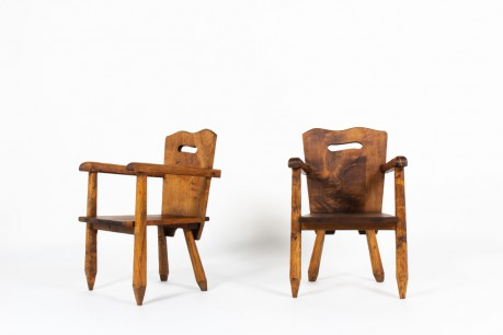 Armchairs in walnut brutalist design 1950 set of 2