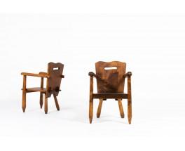 Armchairs in walnut brutalist design 1950 set of 2