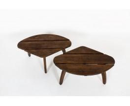 Tables basses hêtre teinté édition Triconfort 1960 set de 2