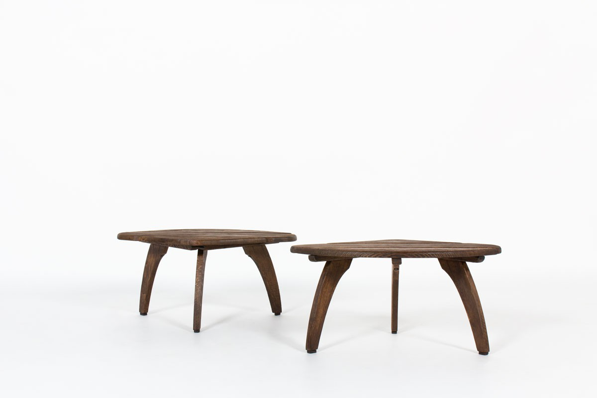 Coffee tables in tinted beech edition Triconfort 1960 set of 2