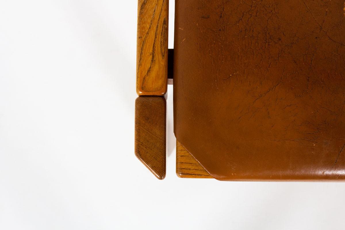 Chaises Luigi Gorgoni en orme et cuir édition Roche Bobois 1970 set de 4