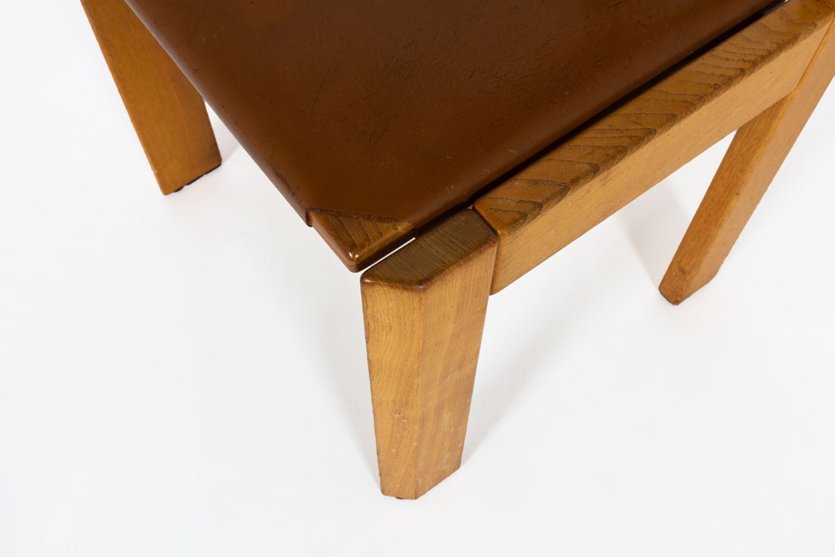 Luigi Gorgoni chairs in elm and leather edition Roche Bobois 1970 set of 4