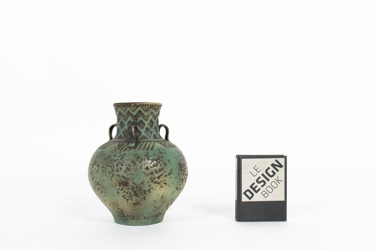 Vase en céramique verte design allemand 1960
