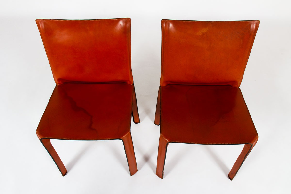 Mario Bellini chairs model 412 cab brown leather edition Cassina 1980 set of 6