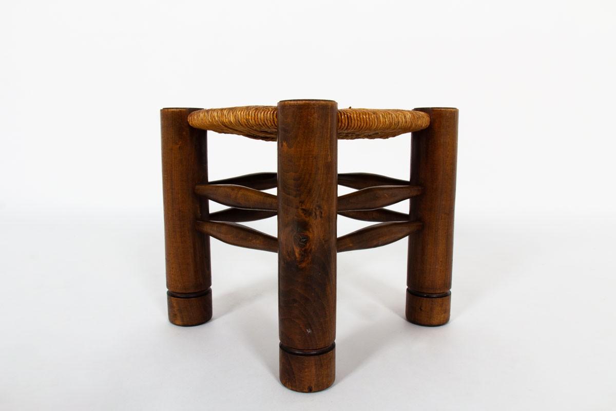Tabourets Charles Dudouyt en chêne et paille 1930 set de 2
