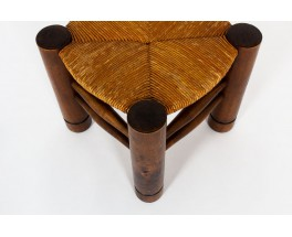 Charles Dudouyt stools in oak and straw 1930 set of 2