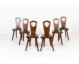 Chairs in oak brutalist design 1950 set of 6