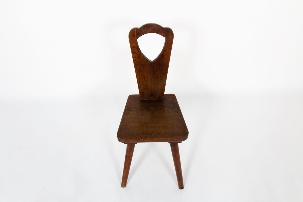 Chaises en chêne design brutaliste 1950 set de 6