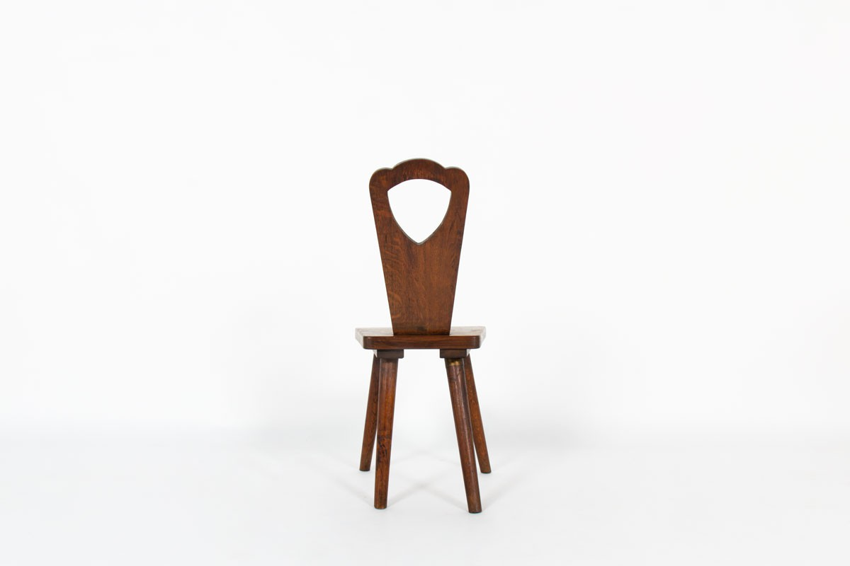 Chairs in oak brutalist design 1950 set of 6