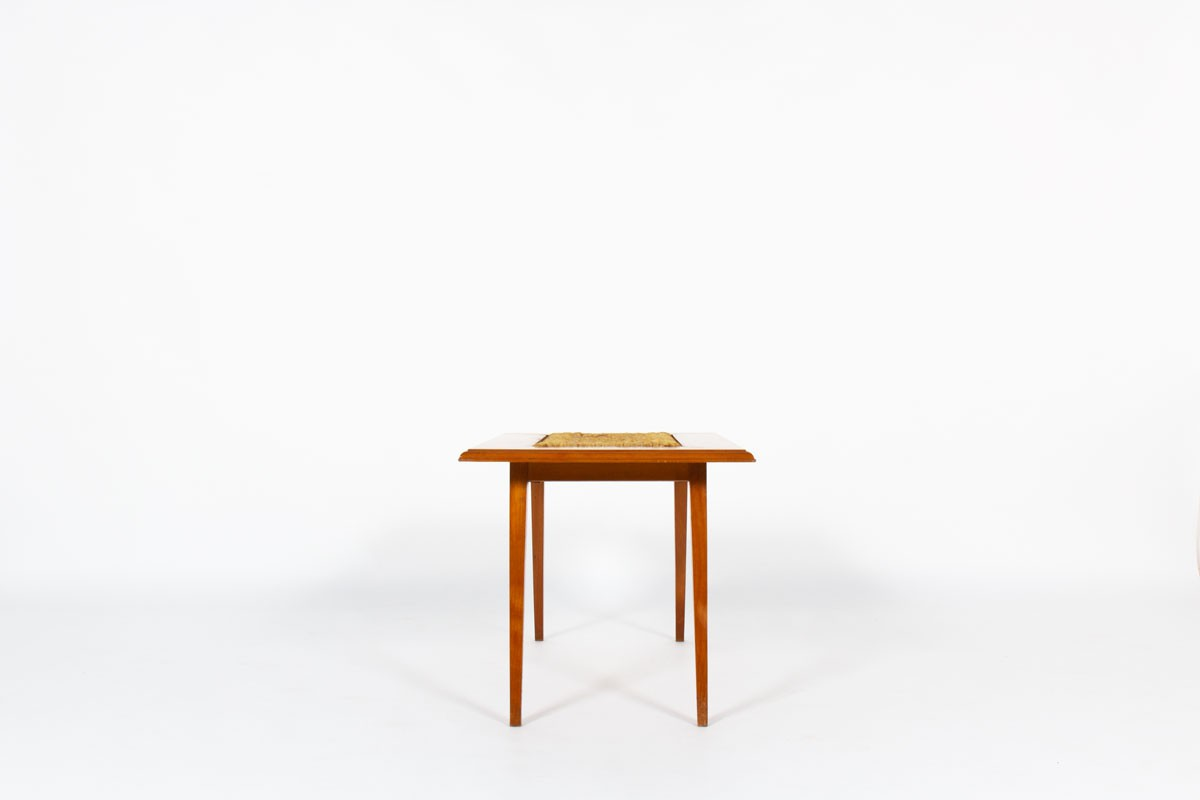 Audoux Minet coffee table in tinted beech and rope 1950