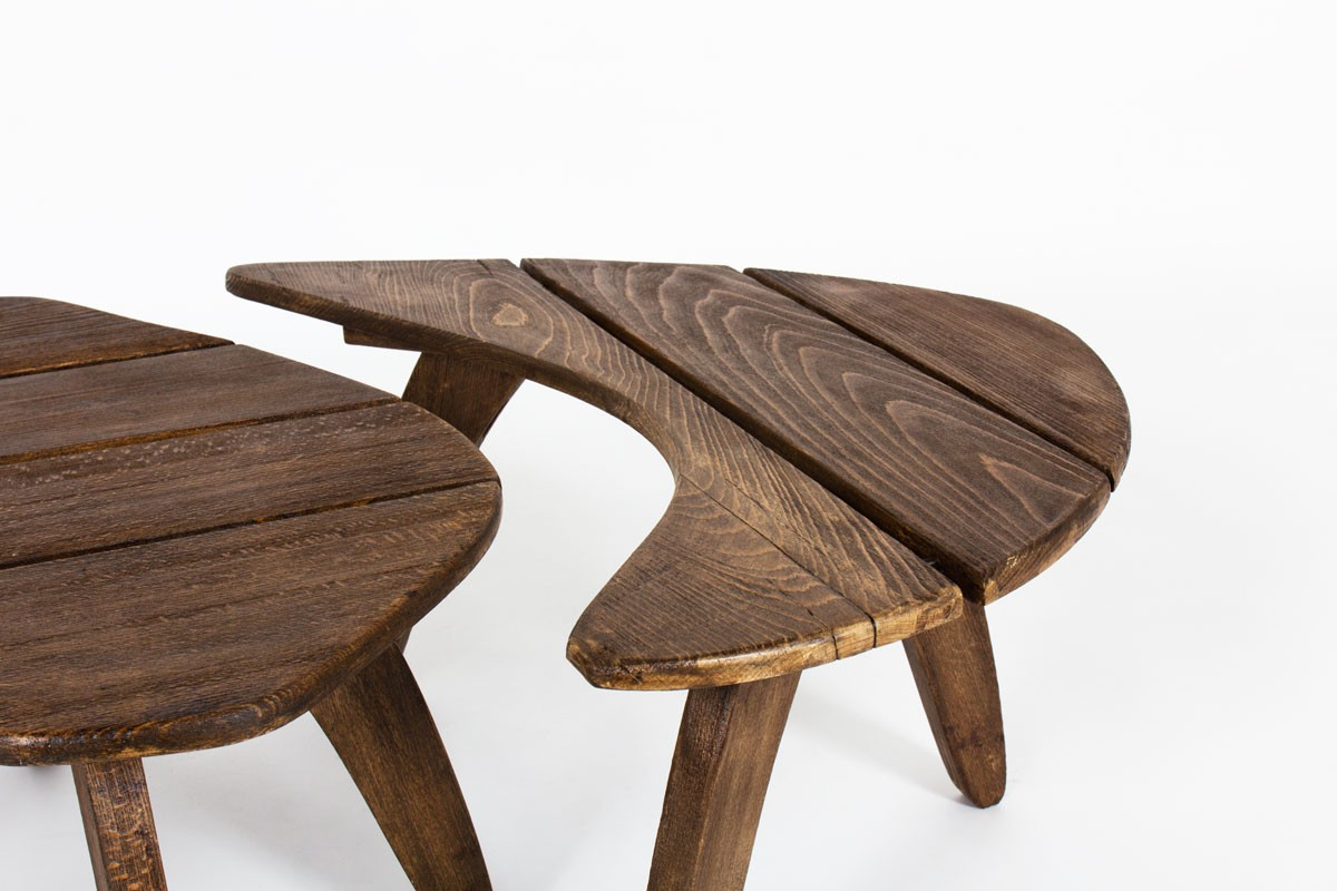 Coffee tables in tinted beech edition Triconfort 1960 set of 3