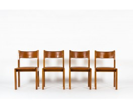 Luigi Gorgoni chairs in leather and elm edition Roche Bobois 1970 set of 4