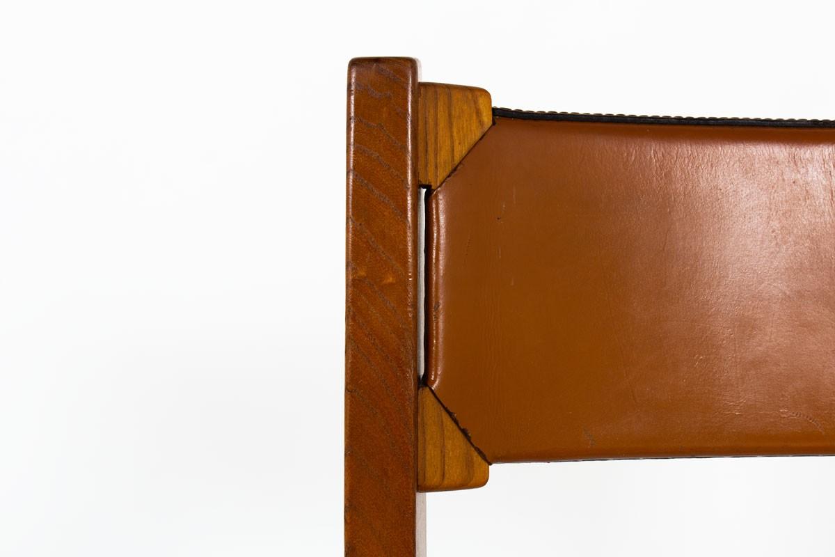 Chaises Luigi Gorgoni en cuir et orme édition Roche Bobois 1970 set de 4