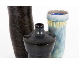 Set of blue ceramic vases 1950 set of 3