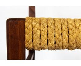 Chaises Audoux Minet en chêne et corde 1950 set de 4