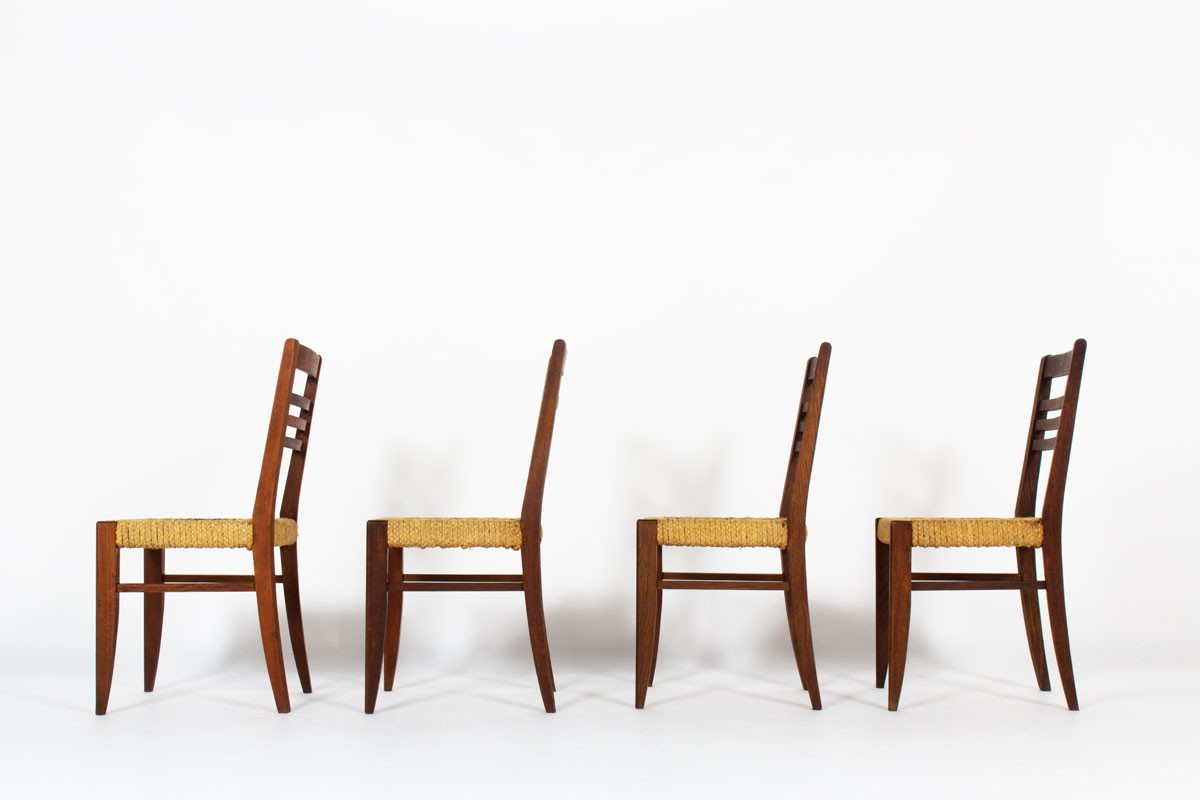 Audoux Minet chairs in oak and rope 1950 set of 4