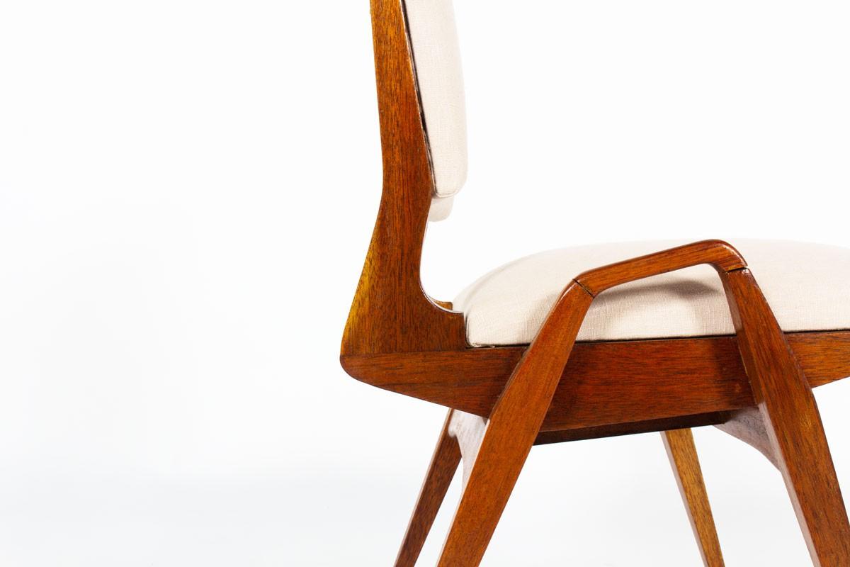 Chaises Maurice Pré acajou et lin Maison Thevenon 1950 set de 6