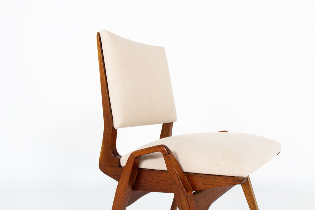 Maurice Pre chairs in mahogany and Maison Thevenon linen 1950 set of 6