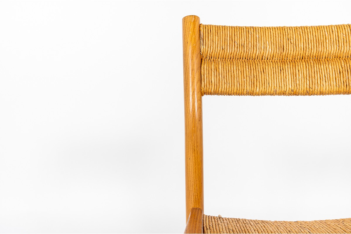 Pierre Gautier Delaye chairs in ash and straw 1950