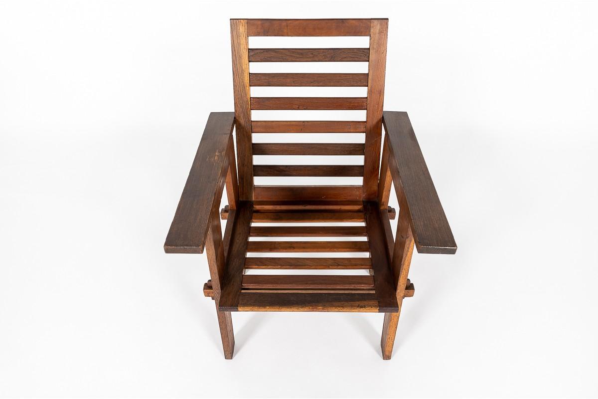 Armchair in oak reconstruction design 1950