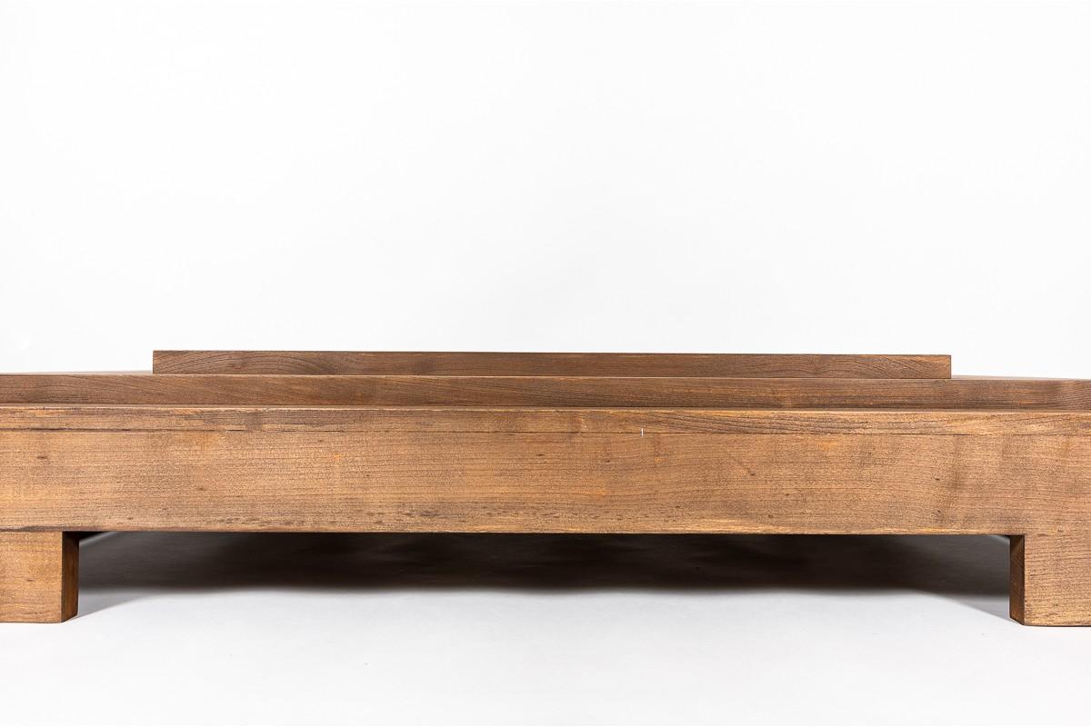 Table basse grand modèle en hêtre teinté 1950
