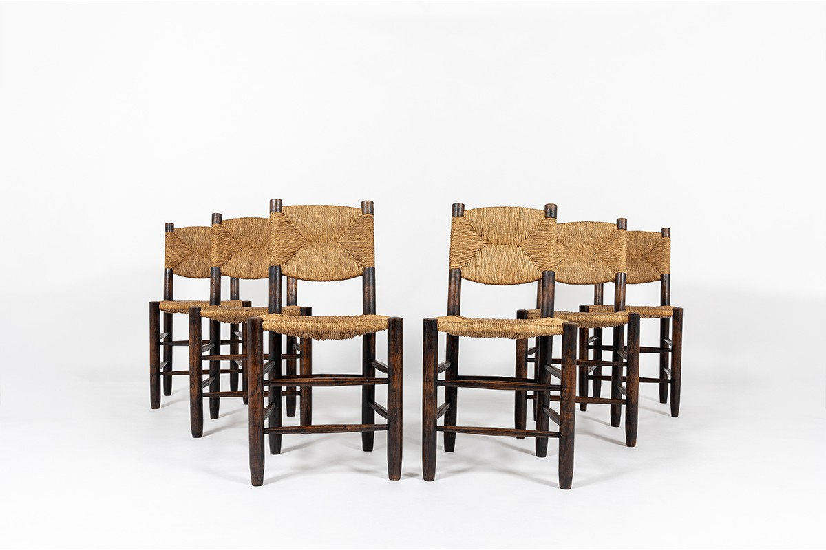 Charlotte Perriand chairs model Bauche n°19 edition Steph Simon 1950 set of 6