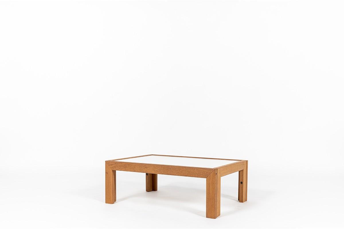 Table basse André Sornay hêtre teinté et plateau blanc 1960