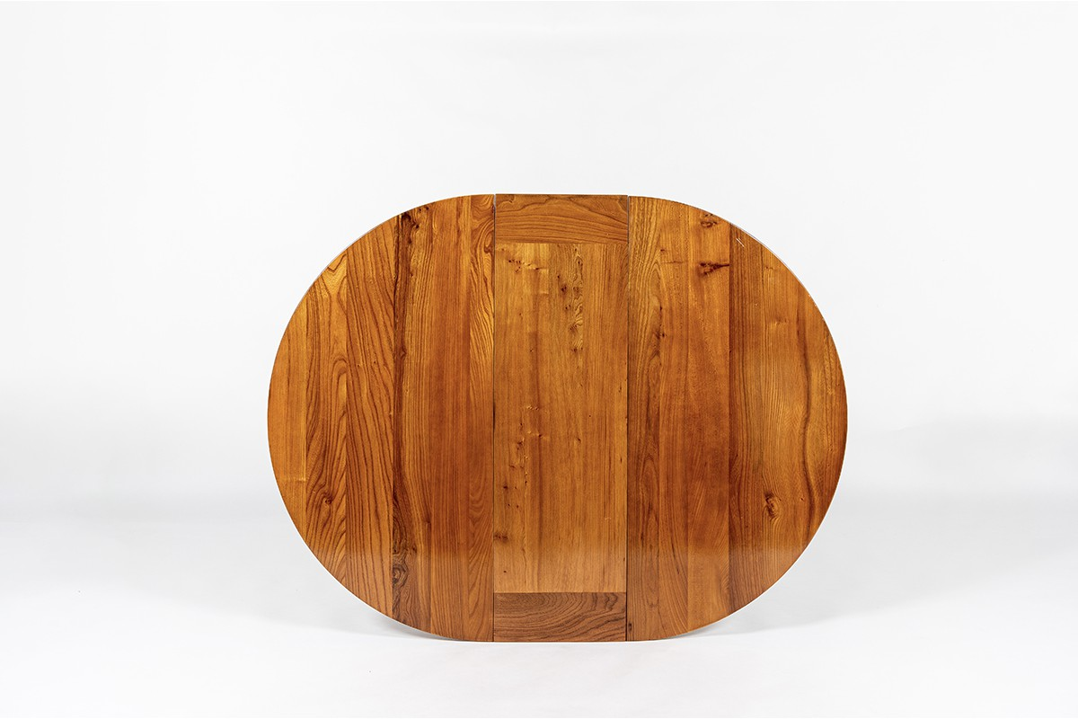 Luigi Gorgoni round dining table in elm with extension edition Roche Bobois 1980