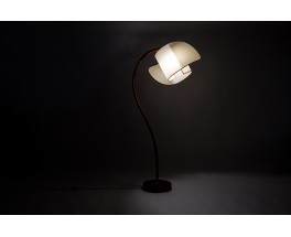Floor lamp in wood with curved beige lampshade 1950