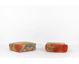 Poufs carré tissu kilim 1980 set de 2