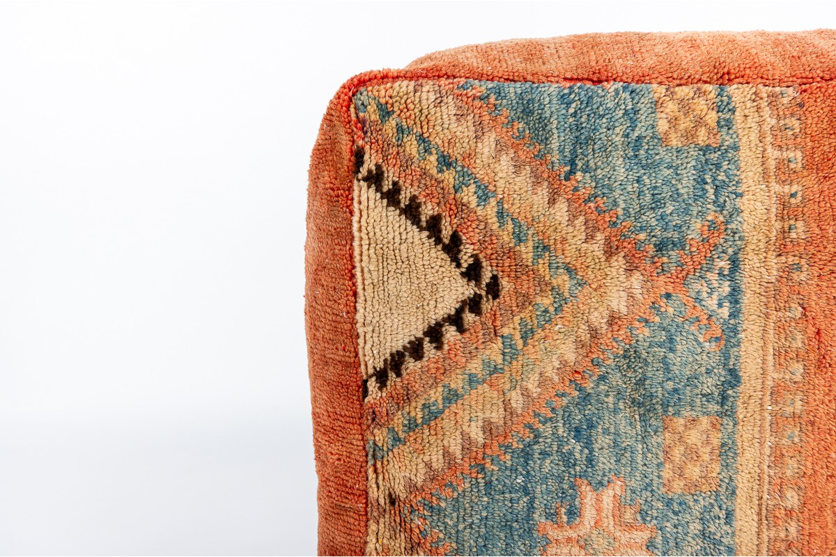 Square poufs kilim fabric 1980 set of 2
