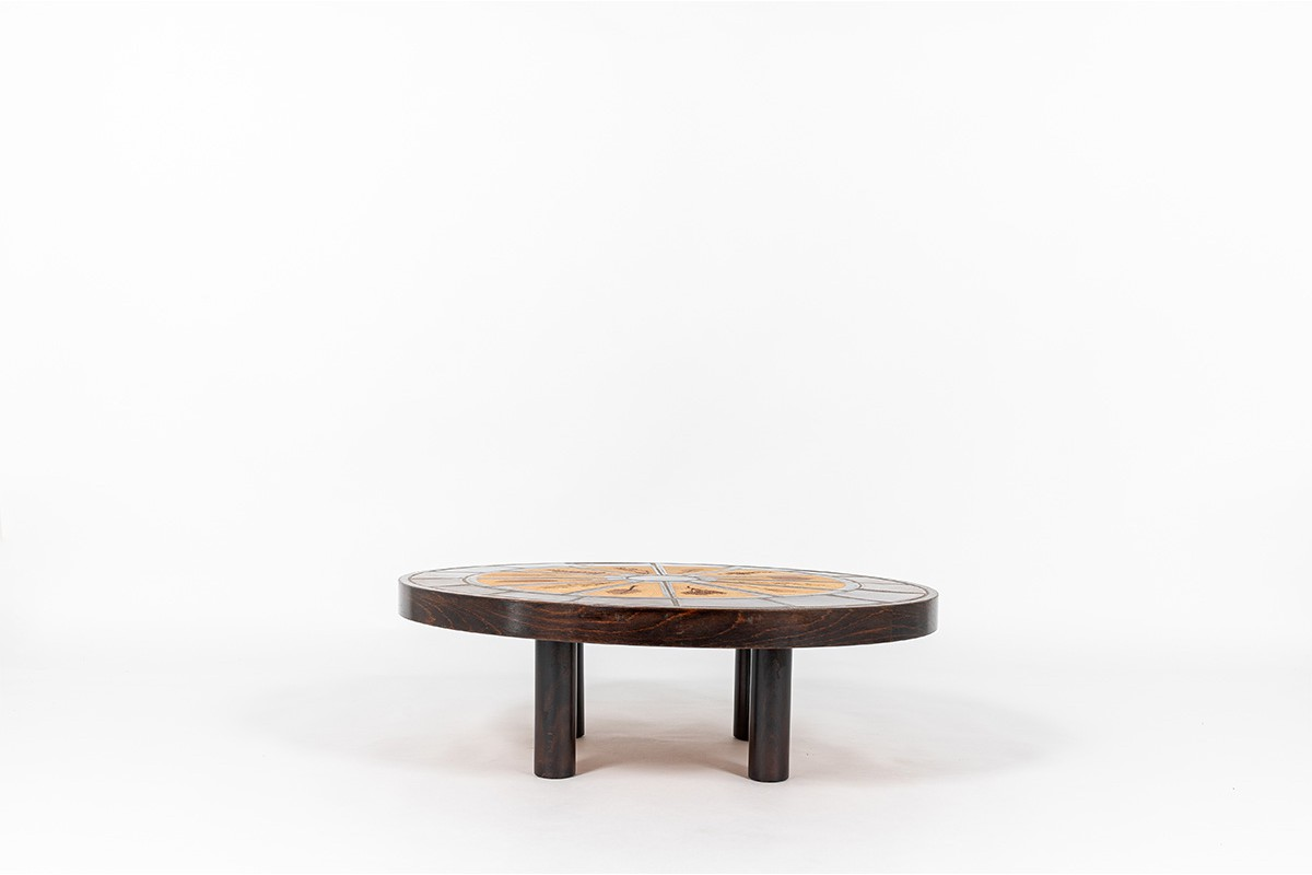 Roger Capron square coffee table model Herbier Vallauris ceramic top 1960