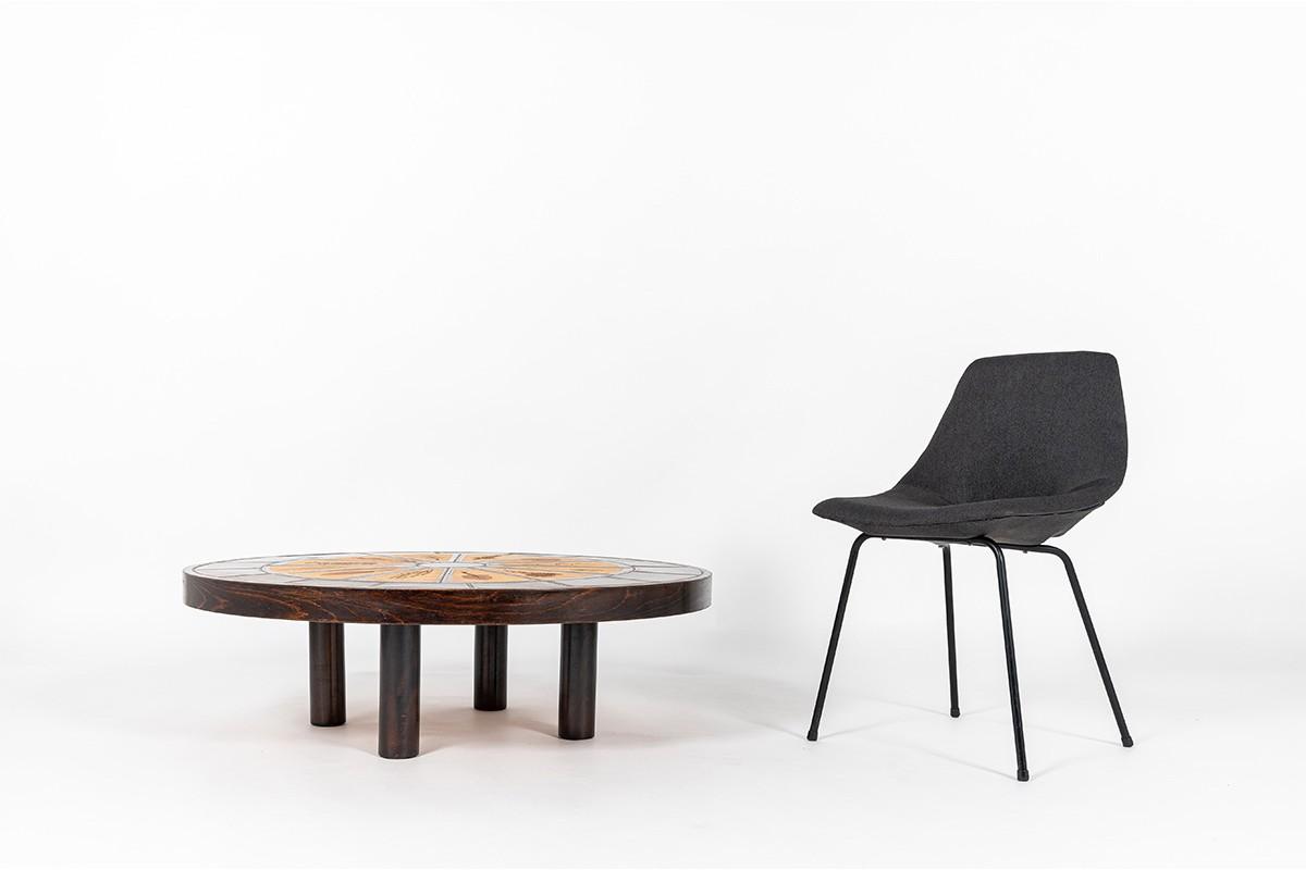 Table basse ronde Roger Capron modèle Herbier Vallauris plateau céramique 1960