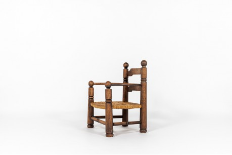 Charles Dudouyt armchair in oak and straw 1930