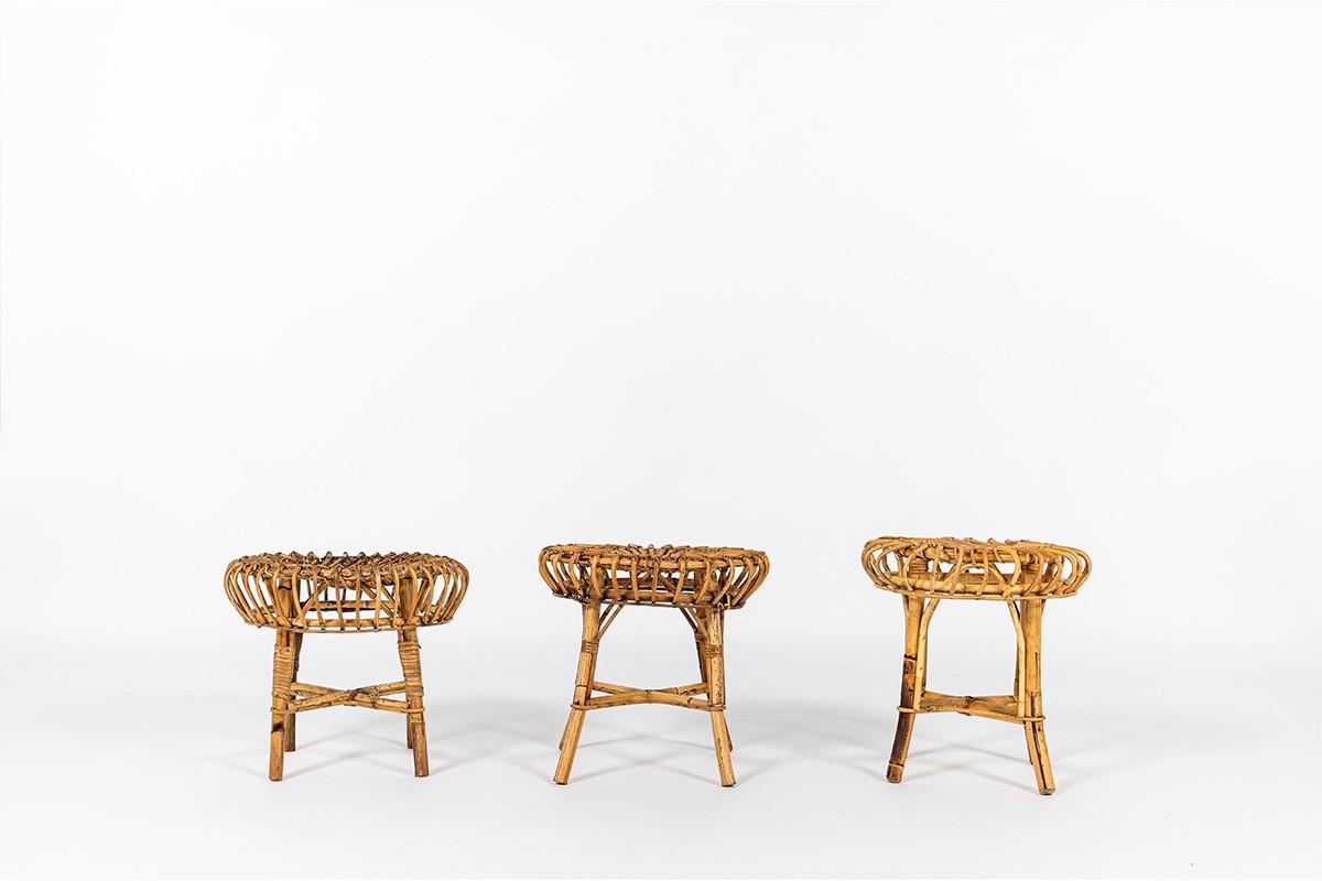 Round Franco Albini stools in wicker edition Vittorio Bonacina 1960 set of 3