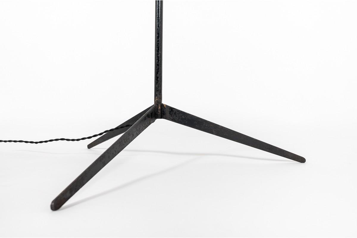 Floor lamp in black metal and beige lampshade minimalist design 1950