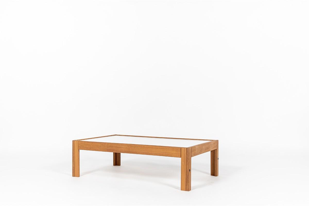 Table basse André Sornay rectangulaire hêtre teinté et plateau blanc 1960