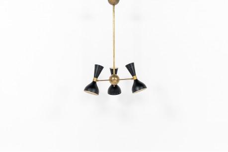 Trident pendant lamp in brass and black diabolo diffusers contemporary design