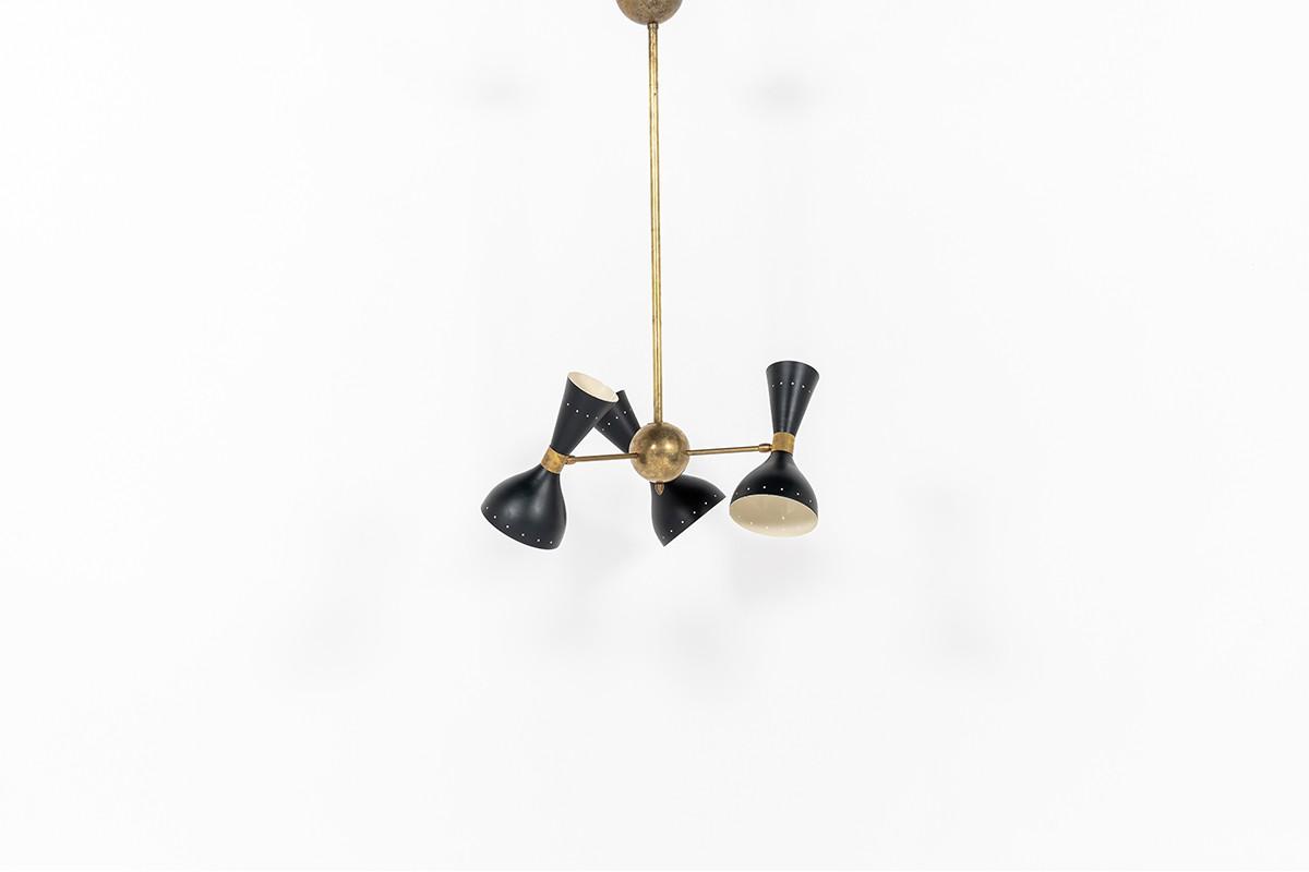 Suspension Trident en laiton et diffuseurs diabolo noir design contemporain