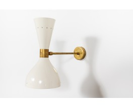 Wall lights in brass and black diffusers Italian contemporary design set of 2