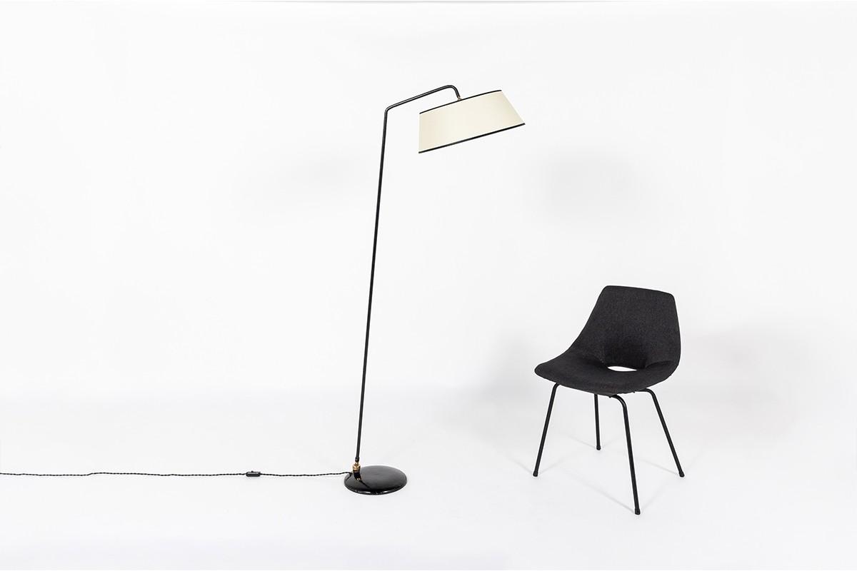 Floor lamp in black metal and beige lampshade edition Arlus 1950