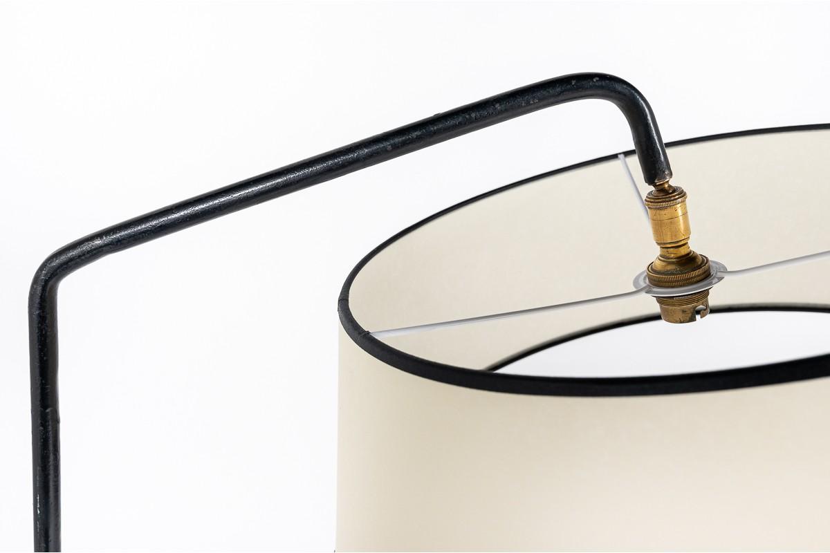 Lampadaire métal noir et abat-jour beige édition Arlus 1950
