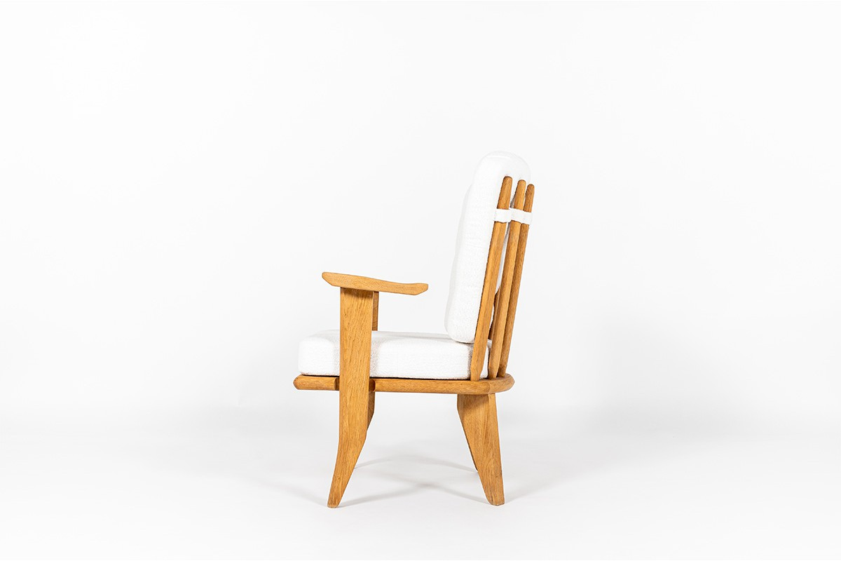 Guillerme and Chambron low chair in oak and Maison Thevenon fabric edition Votre Maison 1950