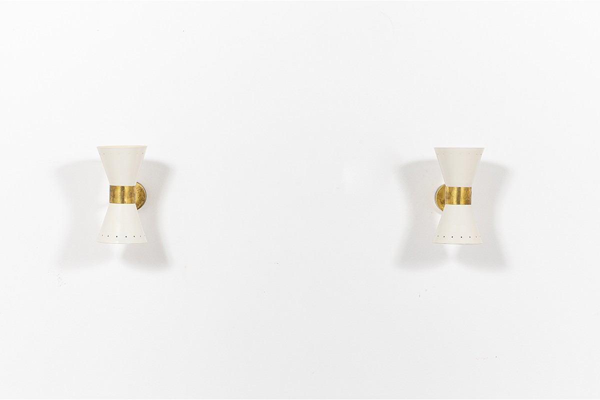 Wall lights in brass and butterfly diffusers Italian contemporary design set of 2