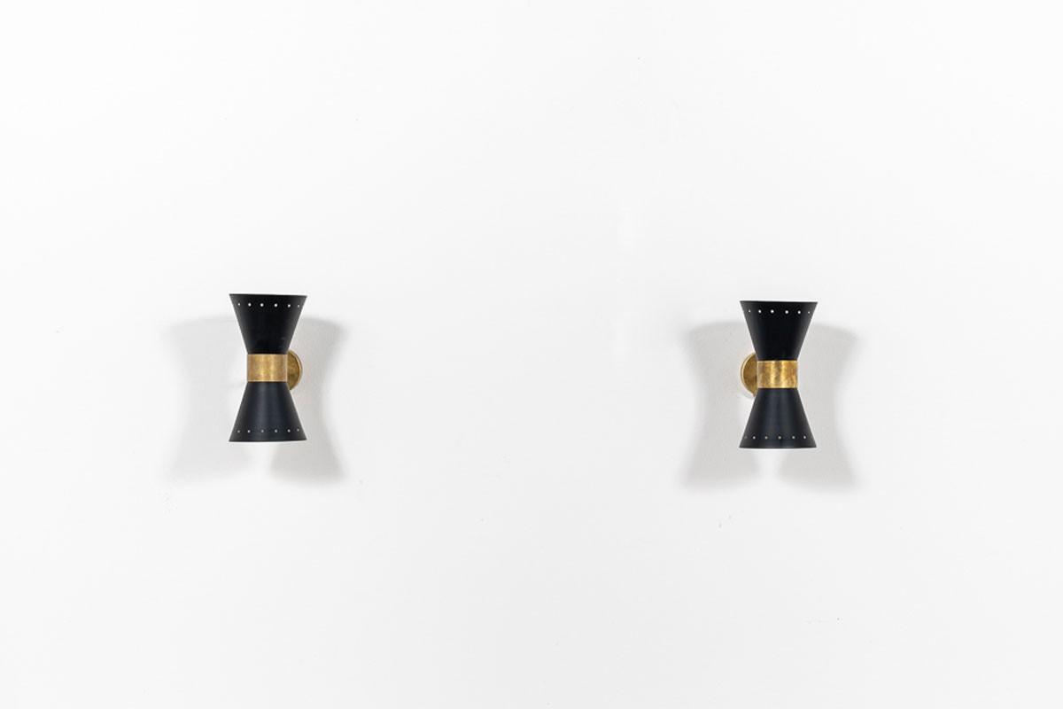 Appliques en laiton diffuseurs papillon design contemporain italien set de 2